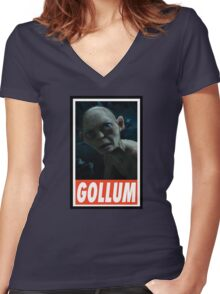 (MOVIES) Gollum Women's Fitted V-Neck T-Shirt