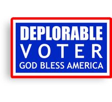 Deplorable Voter #basketofdeplorables Election 2016 Red White & Blue Canvas Print