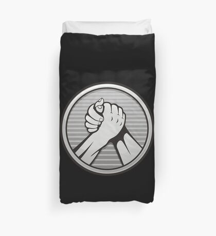 Arm wrestling Silver Duvet Cover