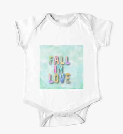 Fall in love.water color,hand painted,pastels,typography,cool text,trendy,modern One Piece - Short Sleeve