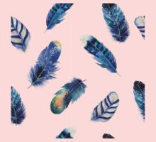 Small feathers, beautiful colourful collection in watercolour in blues - cute bold animal print design, classic statement fashion clothing, soft furnishings and home decor  One Piece - Short Sleeve