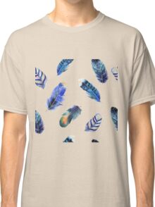 Small feathers, beautiful colourful collection in watercolour in blues - cute bold animal print design, classic statement fashion clothing, soft furnishings and home decor  Classic T-Shirt