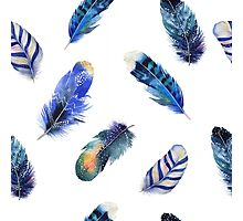 Small feathers, beautiful colourful collection in watercolour in blues - cute bold animal print design, classic statement fashion clothing, soft furnishings and home decor  Photographic Print