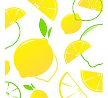 Fresh stylized Fruit : Lemon slices isolated on white Photographic Print