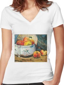 Paul Gauguin - Still Life with Peaches ( 1889)  Women's Fitted V-Neck T-Shirt