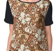William Morris Iris and Lily, Brown and Tan Chiffon Top