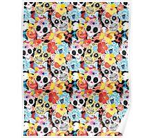 Cool pattern funny skulls Poster