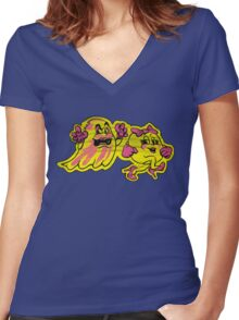 The Ms Pac and Ghost  Women's Fitted V-Neck T-Shirt