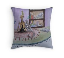 Pets find the violin Throw Pillow