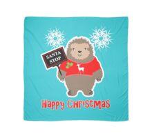Happy Christmas Cute Santa Stop Whimsy Cartoon Festive Sloth  Scarf