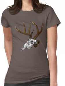 Whitetail Buck Skull Womens Fitted T-Shirt