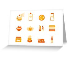 Vector collection of stylized cosmetic and wellness icons isolated on white Greeting Card