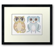 Cat and Lanky Dog Framed Print
