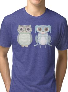 Cool Owl and Lanky Dog Tri-blend T-Shirt