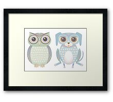 Cool Owl and Lanky Dog Framed Print