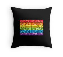 Rainbow Stained Glass Cross Throw Pillow