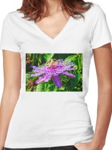 Passion Flower  Women's Fitted V-Neck T-Shirt