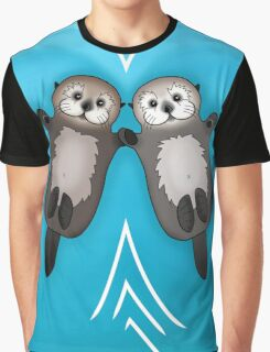 Otters Holding Hands - Otter Couple Graphic T-Shirt