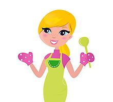 Cute blond woman cooking healthy food Photographic Print