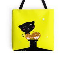 Black cat with Halloween Pumpkin heads Tote Bag