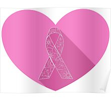 Pink ribbon flat on heart Poster