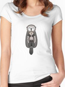 Mother and Pup Sea Otters - Mom Holding Baby Otter Women's Fitted Scoop T-Shirt