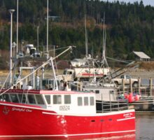 Colorful Lobster Boats Docked On The Bay Of Fundy Sticker