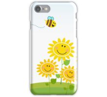 Cute yellow honey bee with group of flowers : Gift edition iPhone Case/Skin
