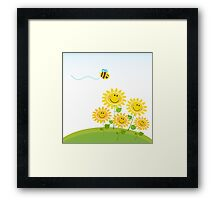 Cute yellow honey bee with group of flowers : Gift edition Framed Print
