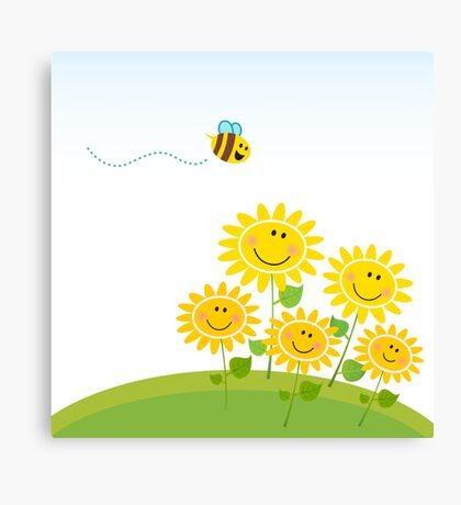 Cute yellow honey bee with group of flowers : Gift edition Canvas Print