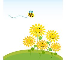 Cute yellow honey bee with group of flowers : Gift edition Photographic Print