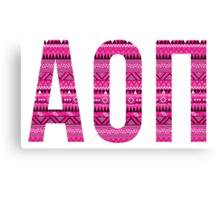 alpha omicron pi pink aztec tribal print Canvas Print