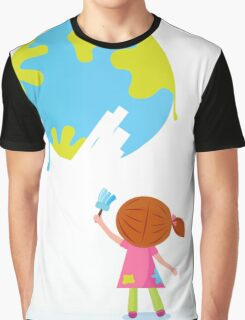 Little artist - child painting Earth ( planet, globe ) Graphic T-Shirt