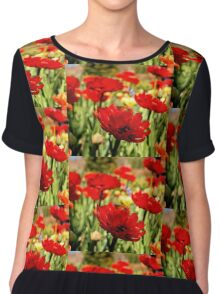 Red Flower Patch Chiffon Top