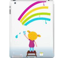 Little artist - cute child painting Rainbow on the Wall iPad Case/Skin