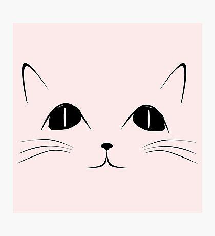 Black Cat Face Cute Animal Cartoon Photographic Print