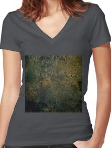 Grunge,rustic,worn,vintage,damask,pattern,floral,gold,wall paper,trendy,modern,victorian,gothic Women's Fitted V-Neck T-Shirt
