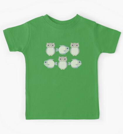Three Cool Fish and Three Cool Owls Kids Tee