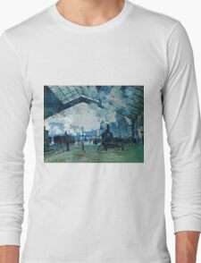 Claude Monet - Arrival of the Normandy Train, Gare Saint Lazare (1877)  Long Sleeve T-Shirt