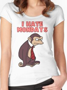 Monday Monkey Lives For The Weekend, Sir. Women's Fitted Scoop T-Shirt