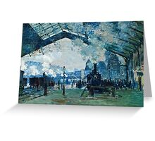 Claude Monet - Arrival of the Normandy Train, Gare Saint Lazare (1877)  Greeting Card