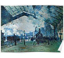 Claude Monet - Arrival of the Normandy Train, Gare Saint Lazare (1877)  Poster