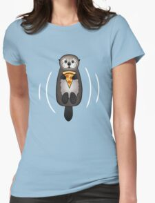 Sea Otter with Pizza Womens Fitted T-Shirt
