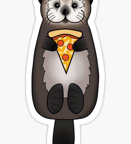 Sea Otter with Pizza Sticker