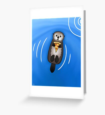 Sea Otter with Pizza Greeting Card
