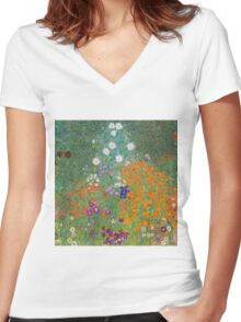 Gustav Klimt - Flower Garden, 1905-07 Women's Fitted V-Neck T-Shirt