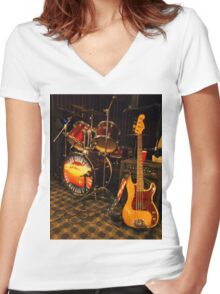 Drums & Guitar Women's Fitted V-Neck T-Shirt