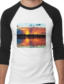 Orange Rays Sunrise Panorama. Apparel and Gifts Men's Baseball ¾ T-Shirt