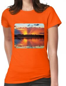 Orange Rays Sunrise Panorama. Apparel and Gifts Womens Fitted T-Shirt