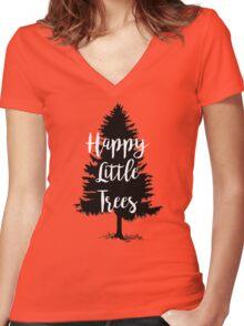 Happy Little Trees (Bob Ross) Women's Fitted V-Neck T-Shirt